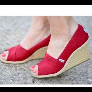 Toms red espadrille wedges